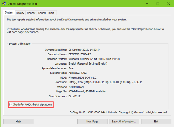 Use Directx Diagnostic Tool to Find Unsigned Drivers on Windows 10