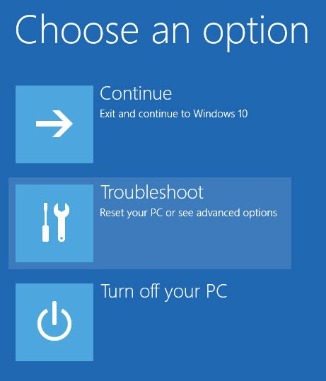 choose troubleshoot for windows 10 unsigned drivers installation