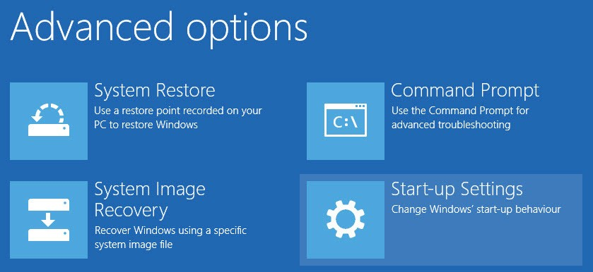 win10 unsigned drivers installation - select startup settings