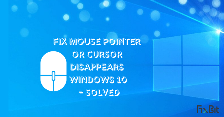 fix mouse pointer or cursor disappears on windows 10